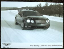 NEW BENTLEY GT COUPE - COLD WEATHER TEST PRESS PHOTOGRAPH BLACK & WHITE UNDATED