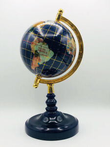Gem Stone Rotating Blue Globe Inlaid Blue Lapis Semi Precious Brass Blue Stand