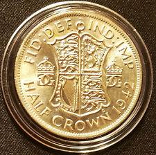 1942 UNC HALF CROWN GEORGE VI BRITISH SILVER COIN PROTECTIVE CAPSULE