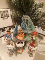 Homco Winter Village People 3 Musical Children Porcelain Bisque  miniature Doll