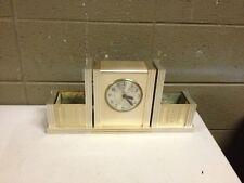 Vintage Antique 40s 50s Art Deco Mantel Clock Norben Ware Aluminum Mid Century