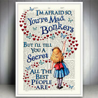 ALICE IN WONDERLAND BONKERS QUOTE ART PRINT DICTIONARY STYLE POSTER WALL PICTURE