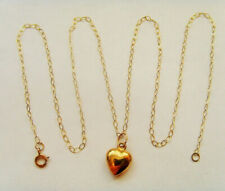 9ct Gold Puffy Loveheart Pendant Complete With Chain
