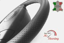 FOR PRAGA S5T -BLACK PERF LEATHER STEERING WHEEL COVER GREY STITCH