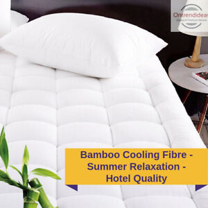 1000GSM Cooling Bamboo Mattress Topper Hotel Quality Deluxe Deep Sleep Toppers