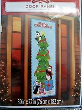 Tokaland Holiday Door Panel Cover Penguins Decorating a Christmas Tree 30x72