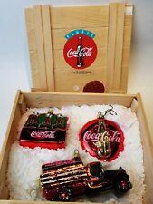 Kurt Adler Polonaise Glass Christmas Ornament Coca-Cola Coke Box Set