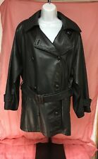 Jones New York Black Double Breasted Leather Jacket Coat With Belt Size L