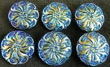"""Vintage UNIQUE Glass Buttons (6 pcs) #D350 - 23 mm - 7/8"""" - RARE!!!!"""