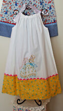 """NEW Handmade Pillowcase Dress w/""""Southern Girl"""" Hand Embr. detail x size 5 to 6"""