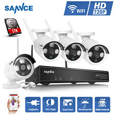 SANNCE 1080P 4CH Wireless NVR Wifi IP 2000TVL Home Security Cameras System 1T HD
