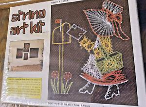 """NOS Vtg McCulla Crafts Color String Art Kit Tisket A Tasket Sealed 8"""" x 10"""""""