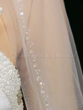 "1T White Bridal 36"" Fingertip Length Beaded Edge Wedding Veil"