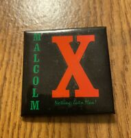 """Vintage 1990s MALCOLM X """"Nothing But A Man"""" square pinback button Movie Promo"""