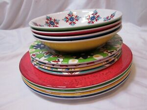 Costco 12 Piece Service Four Melamine Dishware Set Southwest/Floral Pattern *New