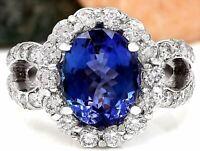 5.32 Carat Natural Tanzanite 14K Solid White Gold Diamond Ring