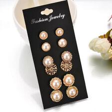 Flower Ear Stud Earrings Fashion Jewelry 6Pair Vintage Women Gold Crystal Pearl