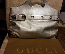 AUTHENTIC Gucci Tote Handbag Metallic Leather Silver Purse Satchel $1695 RARE