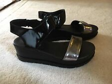 Russell & Bromley Black & Silver Deluxe Platform Sandals Size 5