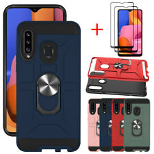 For Samsung Galaxy A20S Case Ring Holder Stand Phone Cover Full Screen Protector