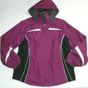Womens Jacket SJB ACTIVE size LARGE purple hooded reversible coat (me90)