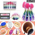 10Pcs Rose Gold Toothbrush Shaped Oval Cream Puff Makeup Brushes Kabuki Kit Set