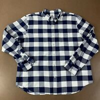 Old Navy Men's Size XXL SLIM FIT Blue White Plaid Long Sleeve Button Front Shirt