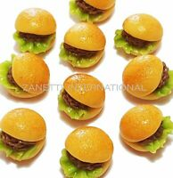 10 Dollhouse Miniature Burgers * Doll Mini Tiny Fast Food Hamburger Bakery Bread