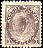 1898 Used Canada 10c F+ Scott #83 Queen Victoria Numeral Stamp