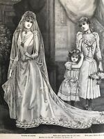 French MODE ILLUSTREE SEWING PATTERN Aug 16,1891 BRIDAL,MOURNING, EVENING GOWNS