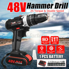 48V Electric Hammer Drill Cordless Drill Woodworking Tool Rechargeable 1 Battery