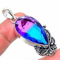 "Bi-Color Tourmaline Handmade Ethnic Style Jewelry Pendant 1.97"" R-VJ-6431"