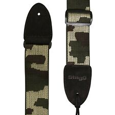 Stagg SNV4 Woven Cotton Guitar Strap Adjustable Bass Electric Acoustic Camo Army