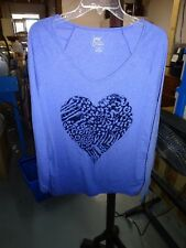 JMS JUST MY SIZE ~ Size 1X (16W) Medium Blue V Neck Blouse Top Heart Front NEW