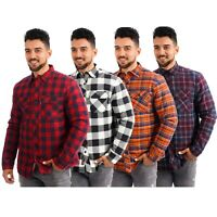 New Mens Padded Quilted Lined Shirt Lumberjack Fleece Jacket Flannel Warm Work