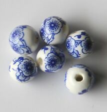 30pcs 8mm Round Porcelain/Ceramic Beads - White / Cobalt Blue Cherry Blossoms