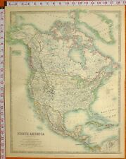 1902 LARGE ANTIQUE MAP NORTH AMERICA MEXICO UNITED STATES CANADA WEST INDIES