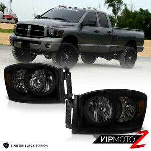 "06-09 Dodge Ram 1500 2500 3500 ""SINISTER BLACK SMOKE"" Headlight Driving Lamp L+R"