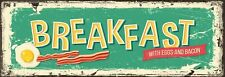 Replica Breakfast sign 4 by 12 inches free shipping
