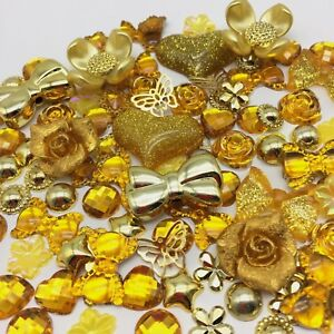 100 Embellishments Gold Tones Cabochon Beads Flatbacks Gems Craft Cardmaking