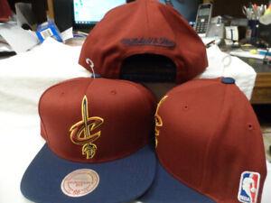 NBA CLEVELAND CAVS HAT CAP MITCHELL NESS SNAPBACK OSFM WINE W/NAVY BILL GOLD C