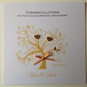 PERSONALISED Handmade GOLDEN WEDDING ANNIVERSARY CARD 50th