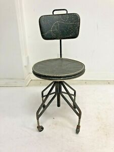Vintage INDUSTRIAL SWIVEL CHAIR desk mid century modern industrial office 1950s