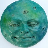 Handmade, Signed Original Folk Art Full Moon Wall Sculpture Signed by Claybraven