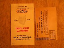 1955 FOX'S FOXS FRUITS SYRUPS TOPPING BOOKLET DIARY PRODUCTS VINTAGE FOUNTAIN