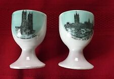Pair of Vintage London England Egg Cups Lustre Westminster Abbey - Parliament
