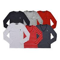 Polo Ralph Lauren Womens T-shirt Long Sleeve V-Neck Perfect Tee Xs S M L Xl Prl