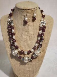 Beautiful Handmade Purple Pearl Stone Beaded Silver Necklace & Earrings