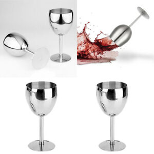 2 Pcs Stainless Steel White / Red Wine Glass Beer Cup Goblet Spa Drinkware