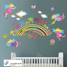 Fairy Flower Butterfly Rainbow Cloud Nursery Kid Baby Girl wall sticker Decal